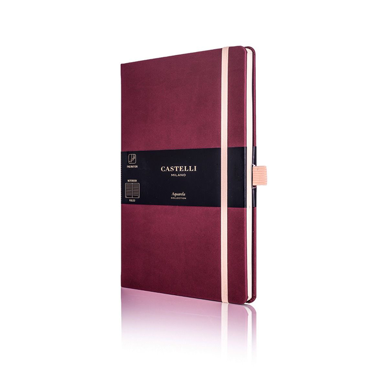 Black Cherry Castelli Aquarela Ruled Notebook
