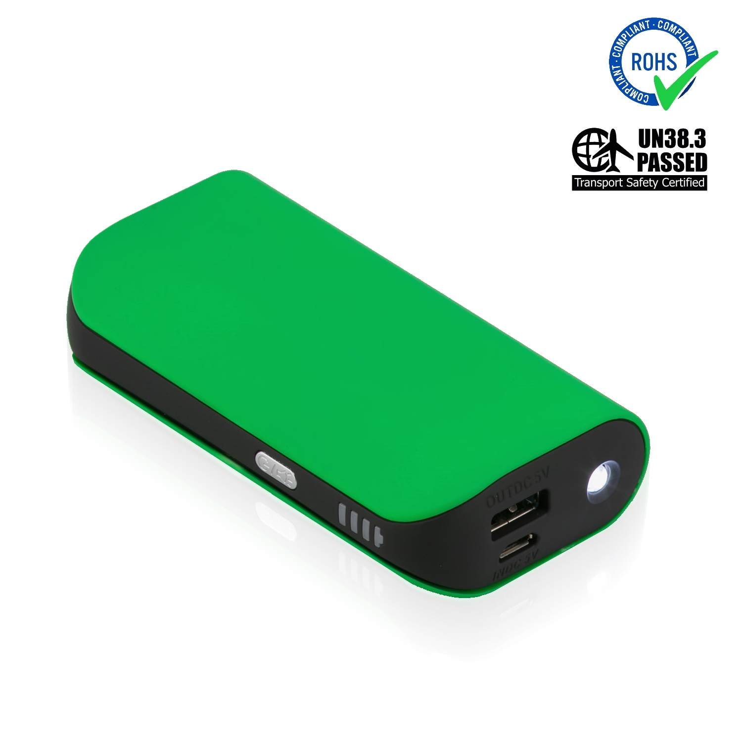 Green Power Bank 5200 mAh + LED Torch