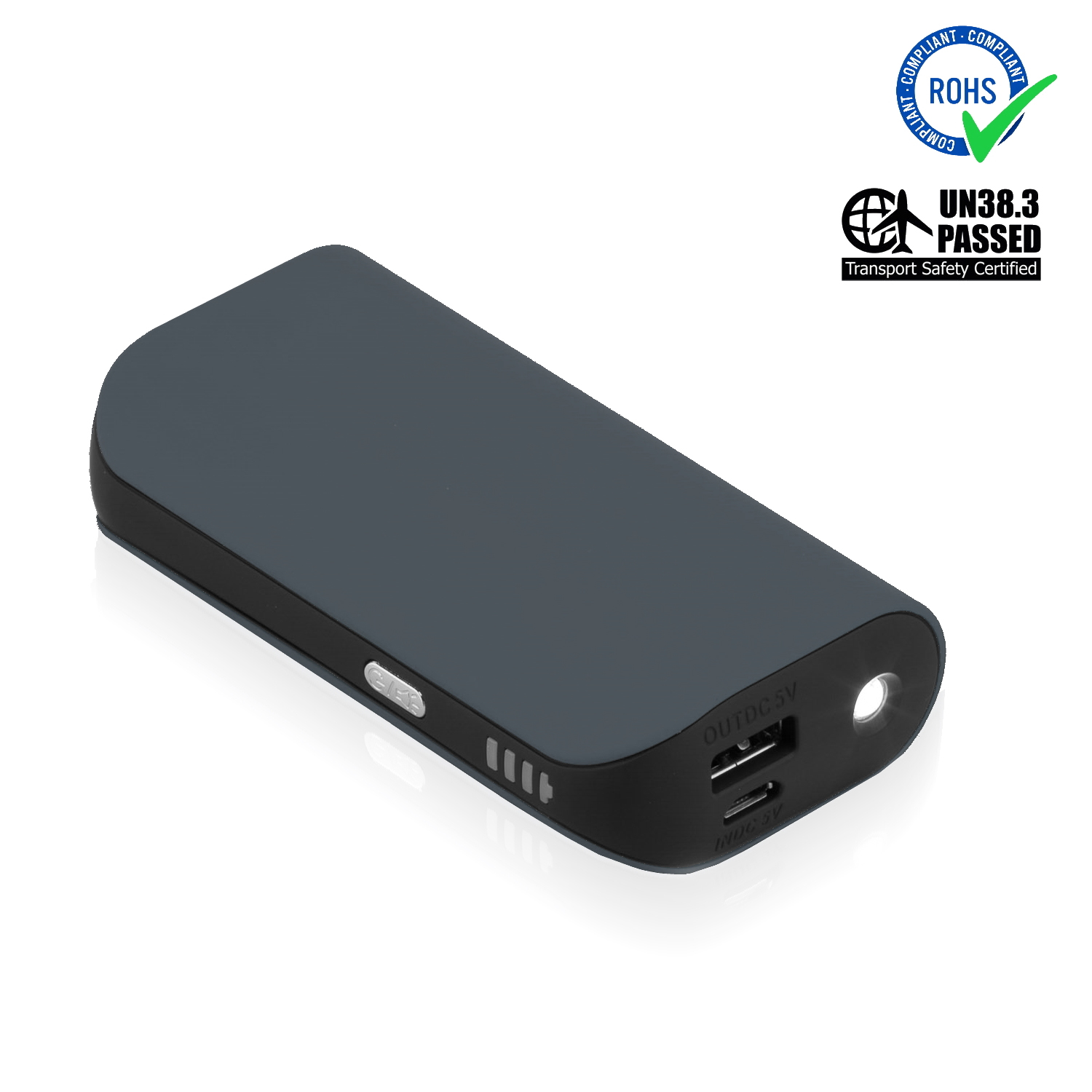 Grey Power Bank 5200 mAh + LED Torch