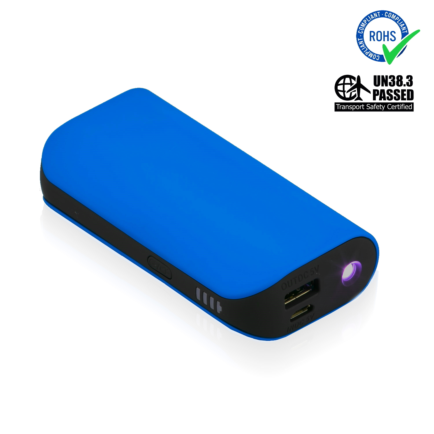 Blue Power Bank 5200 mAh + LED Torch