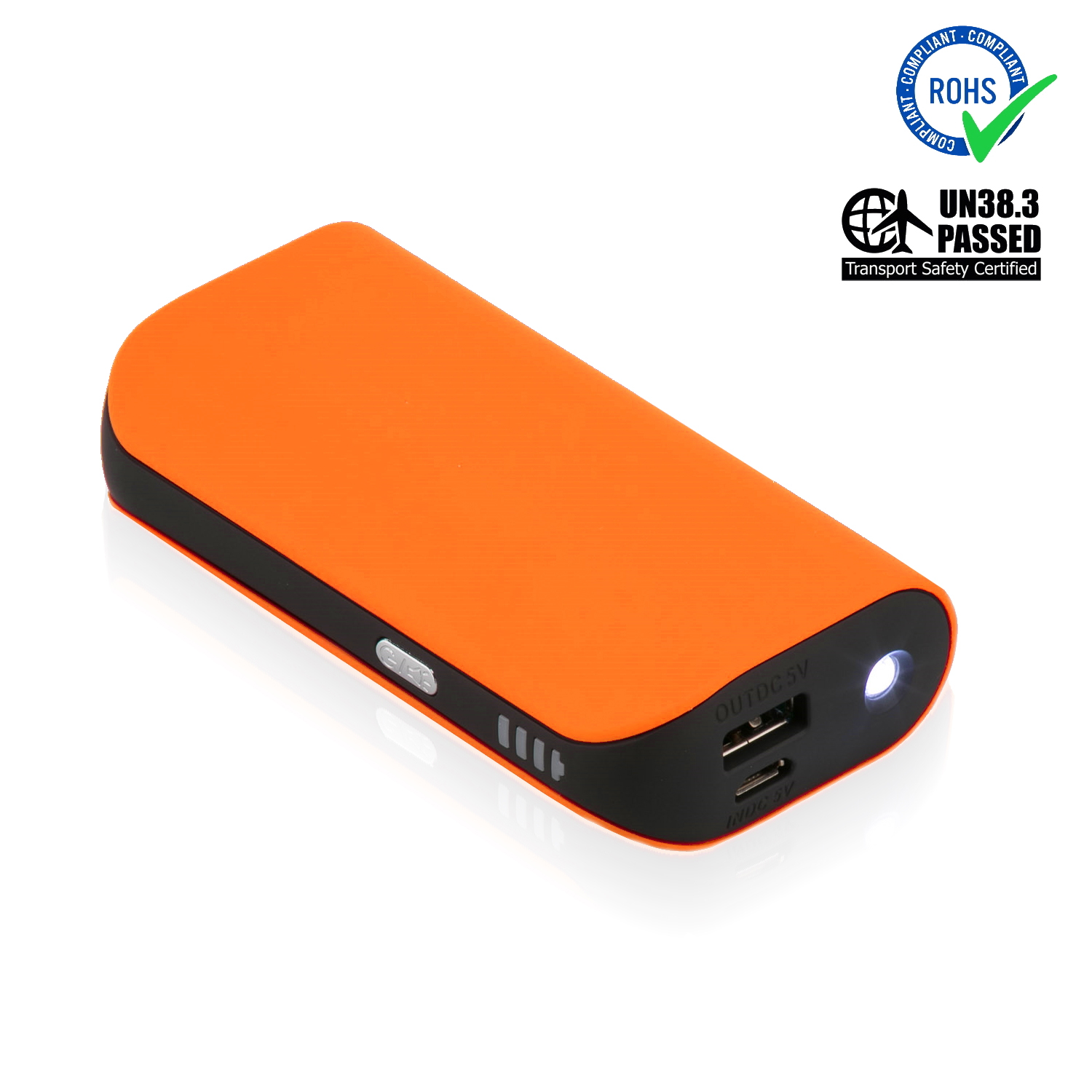 Orange Power Bank 5200 mAh + LED Torch
