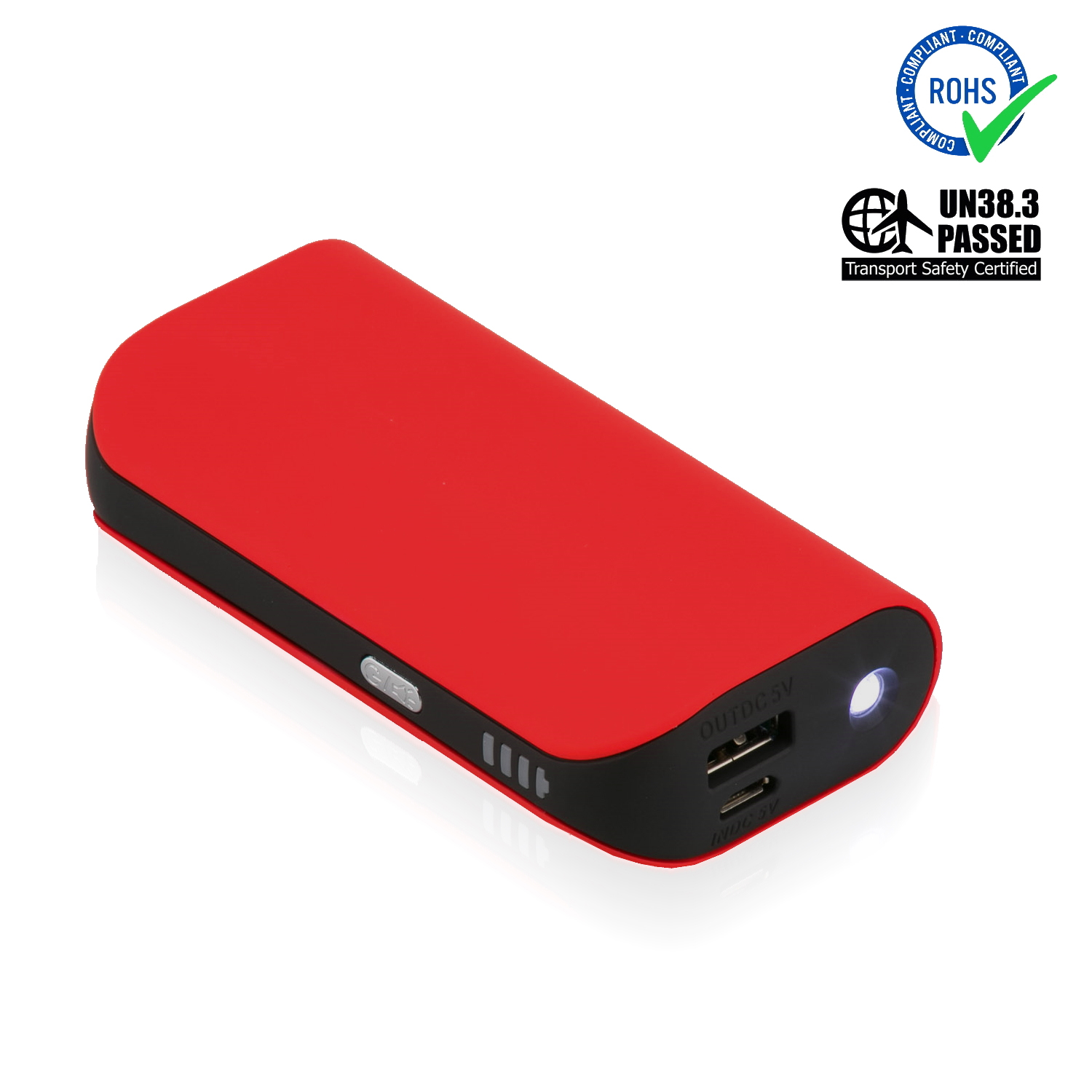 Red Power Bank 5200 mAh + LED Torch
