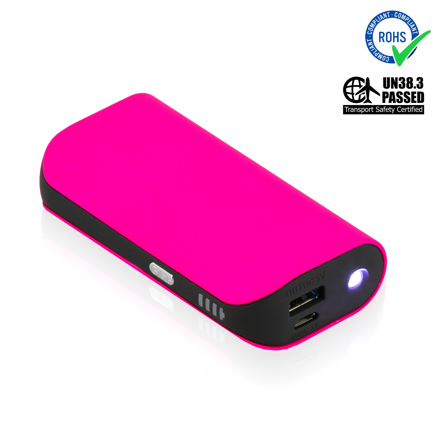 Pink Power Bank 5200 mAh + LED Torch