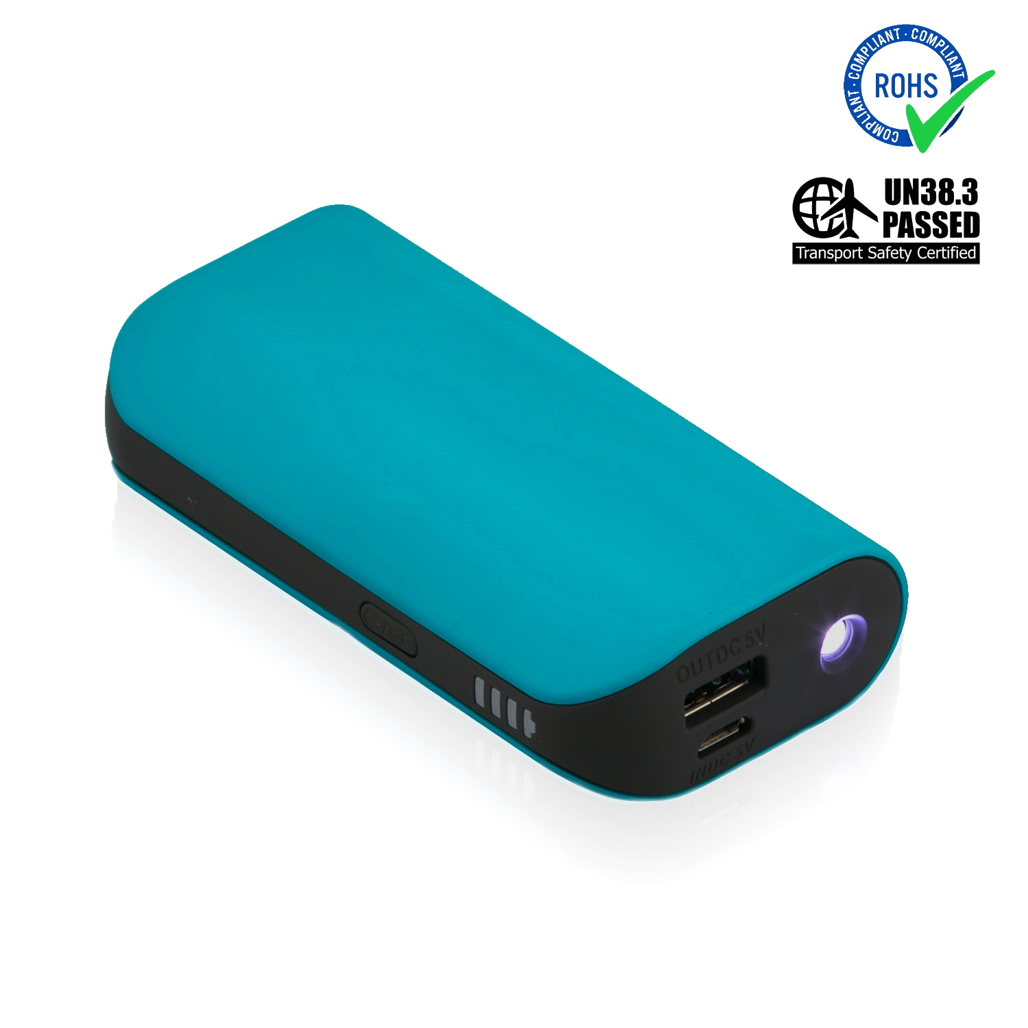 Turquoise Power Bank 5200 mAh + LED Torch