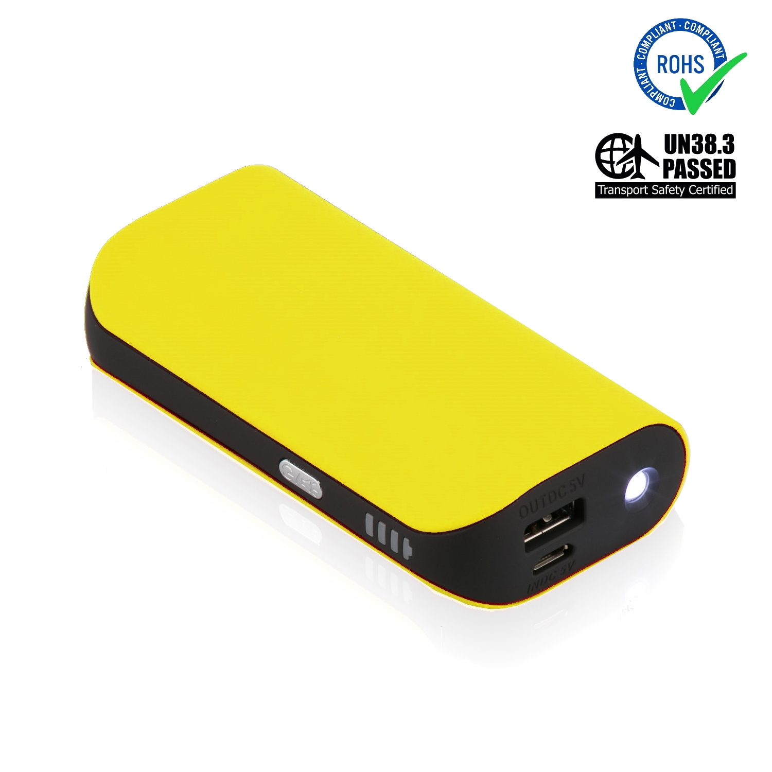 Yellow Power Bank 5200 mAh + LED Torch