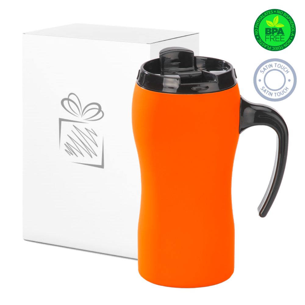 Orange Thermal Mug with Handle (450ml)